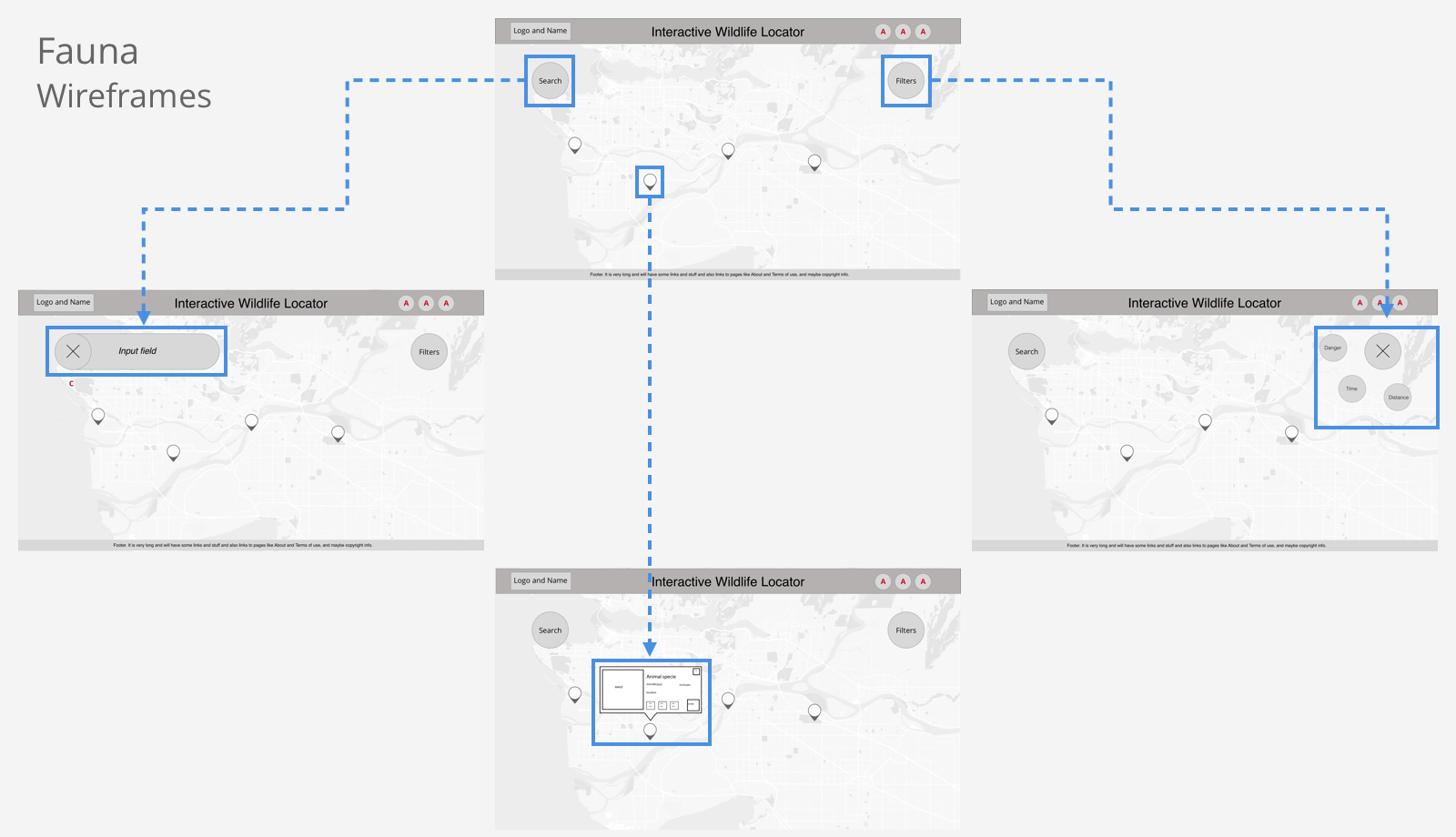 Image of Fauna App Wireframes