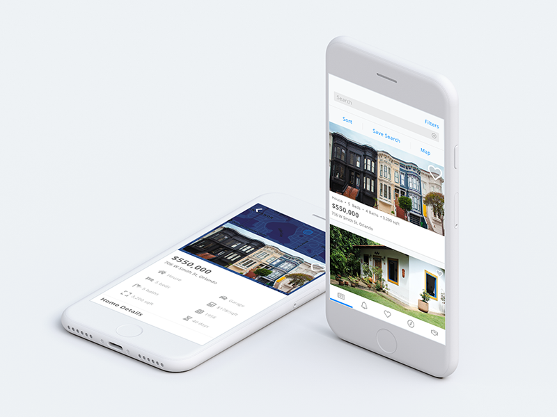 two mockups of a Real Estate app