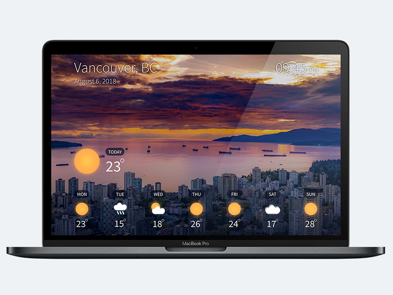 Laptop Mockup of a Weather app